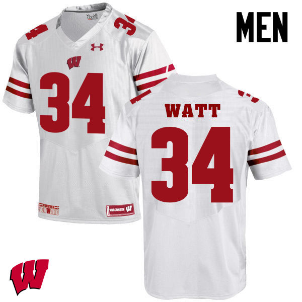 Men Winsconsin Badgers #34 Derek Watt College Football Jerseys-White